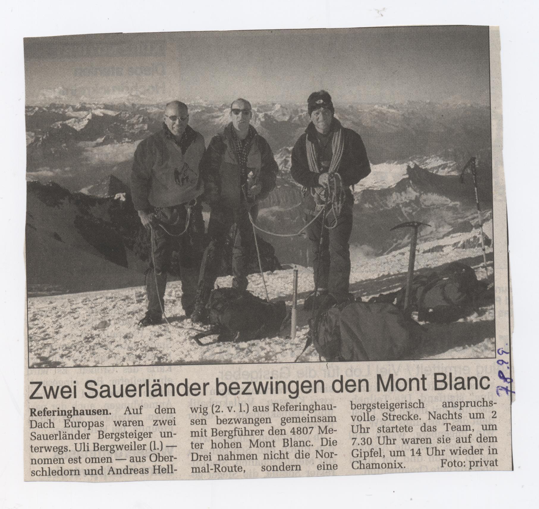 2 Sauerländer bezwingen den Mont Blanc