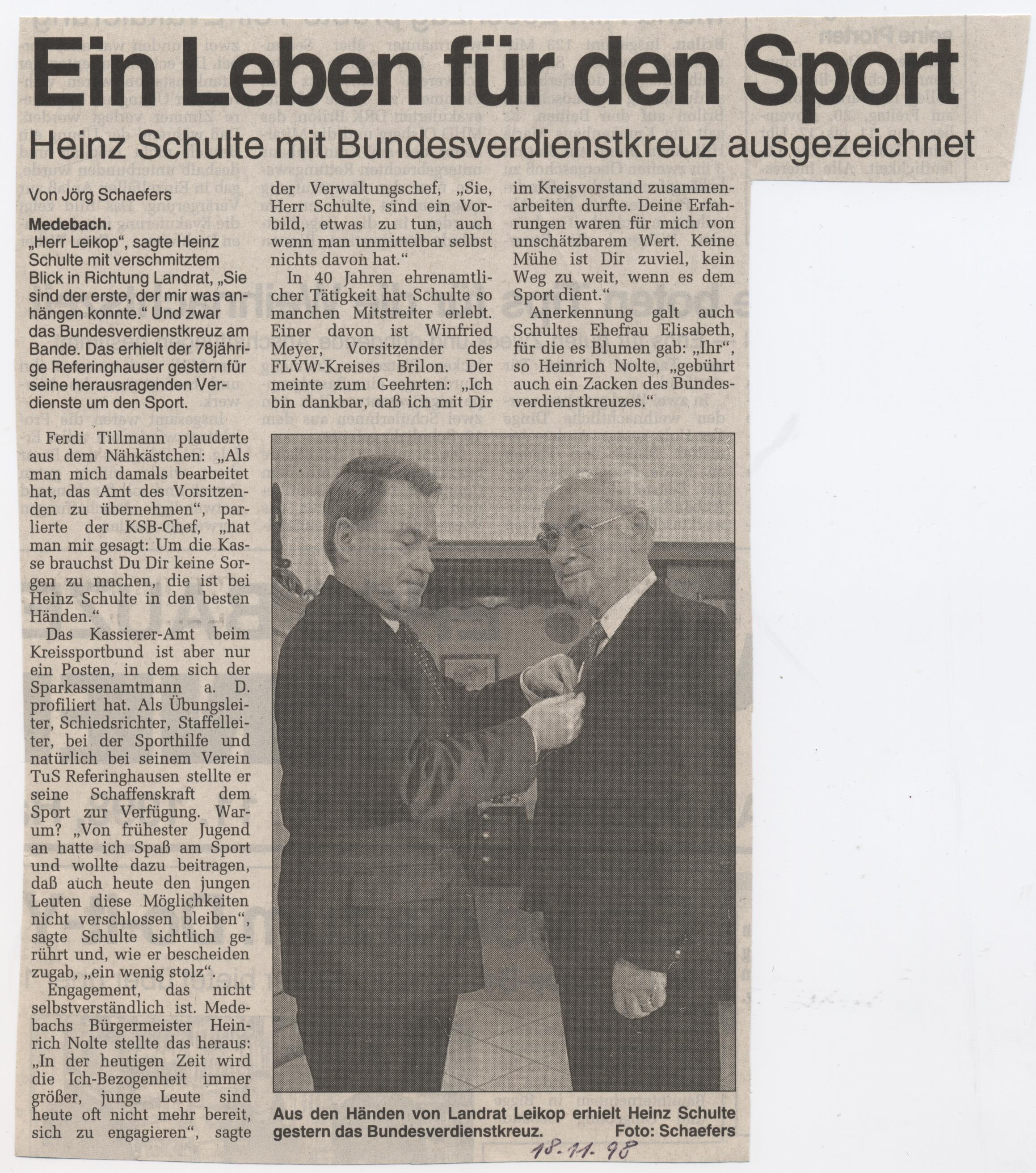 Ein Leben für den Sport, Bundesverdienstkreuz
