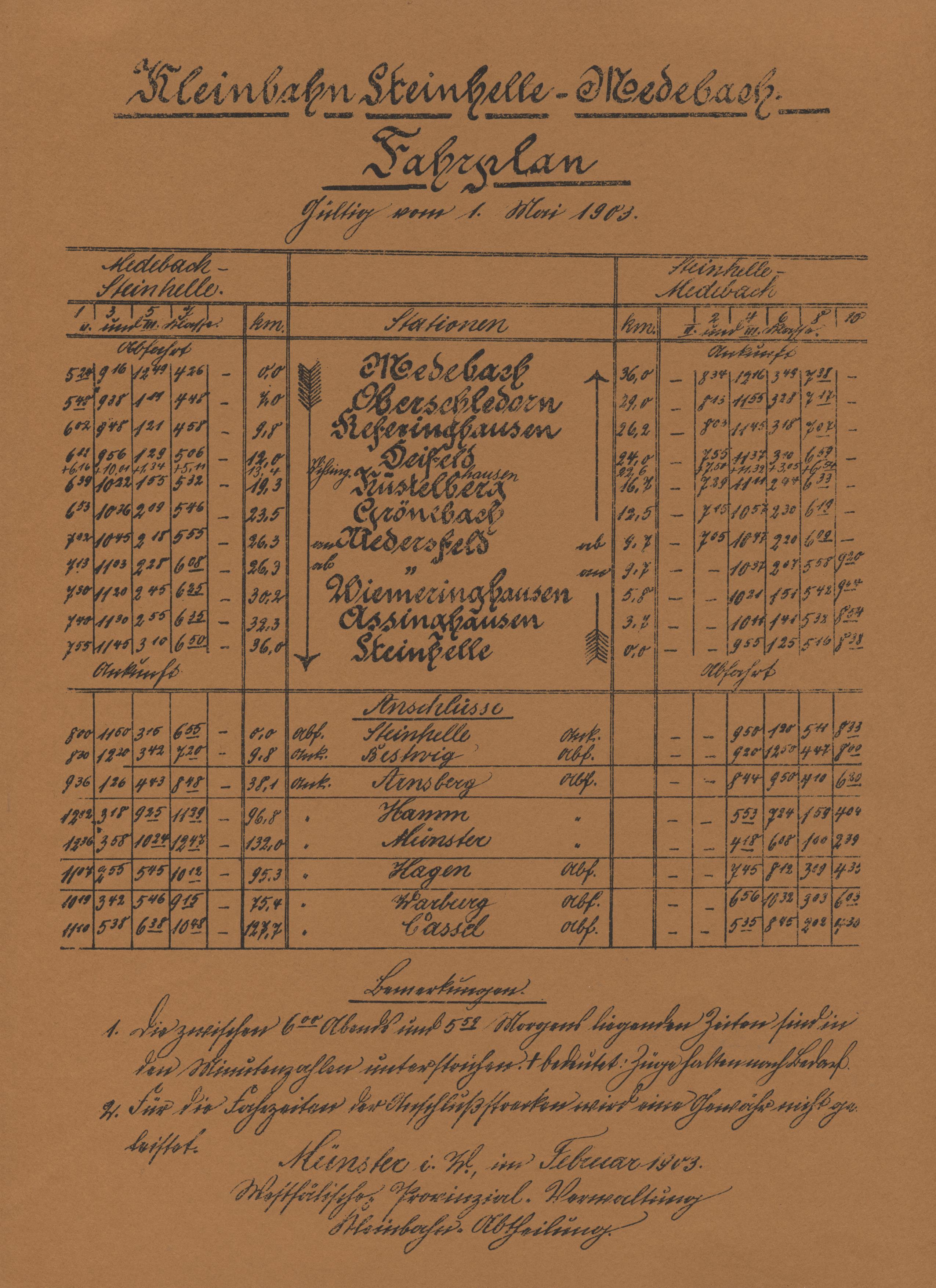 Fahrplan 1903
