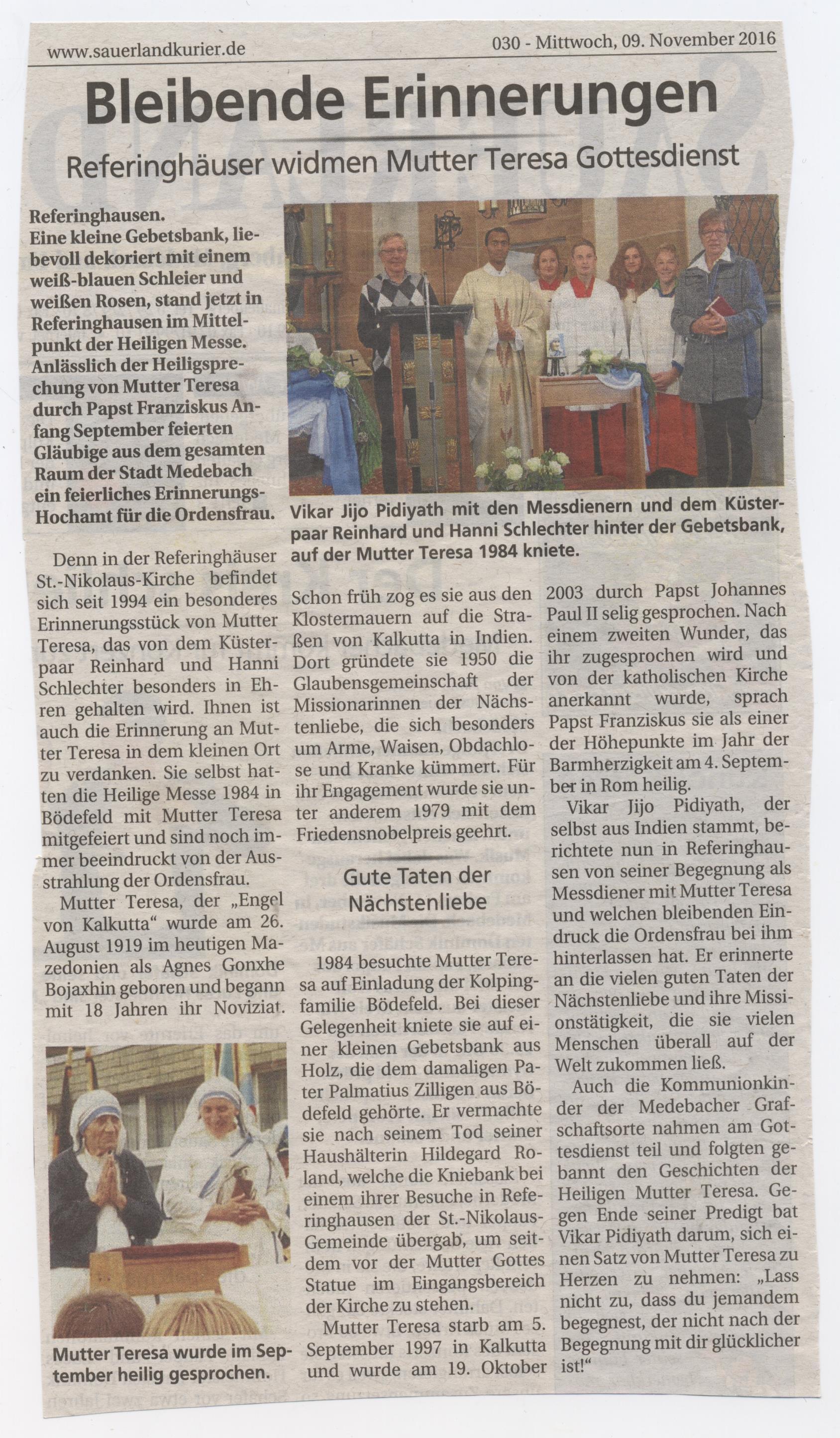 Gottesdienst in Gedenken an Mutter Teresa