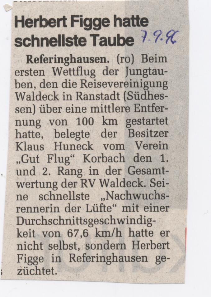 Herbert Figge schnellste Taube
