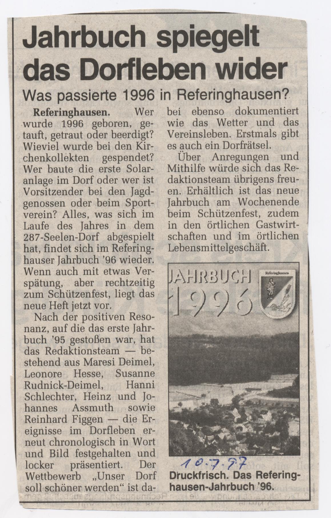 Jahrbuch spiegelt Dorfleben wieder