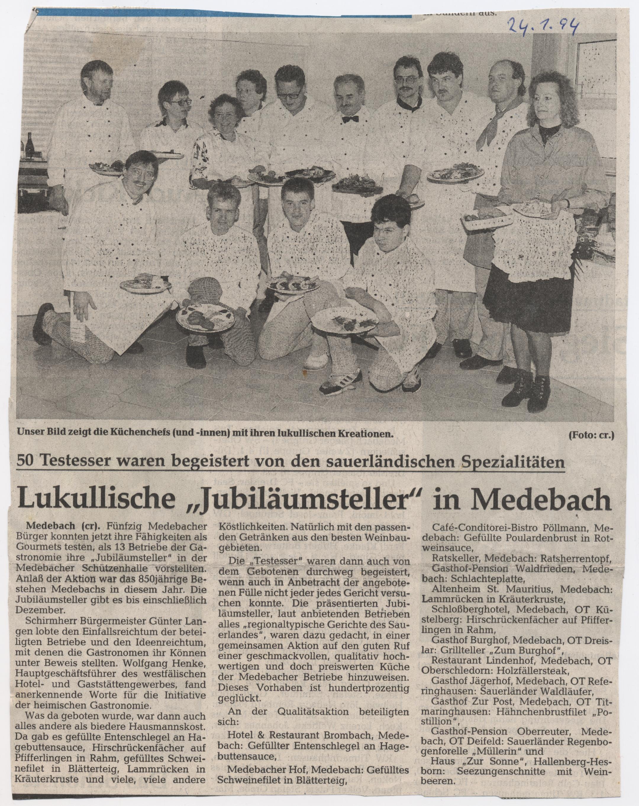 Jubiläumsteller in Medebach