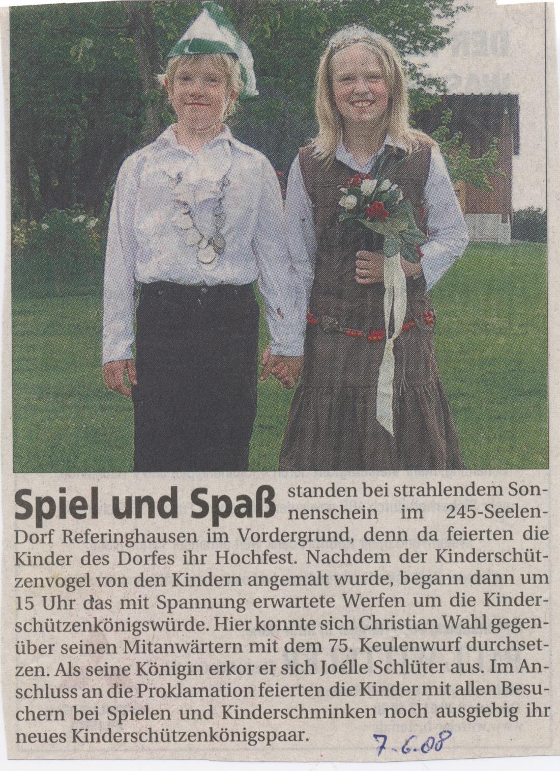 Kinderschützenkönigspaar Christian und Joélle
