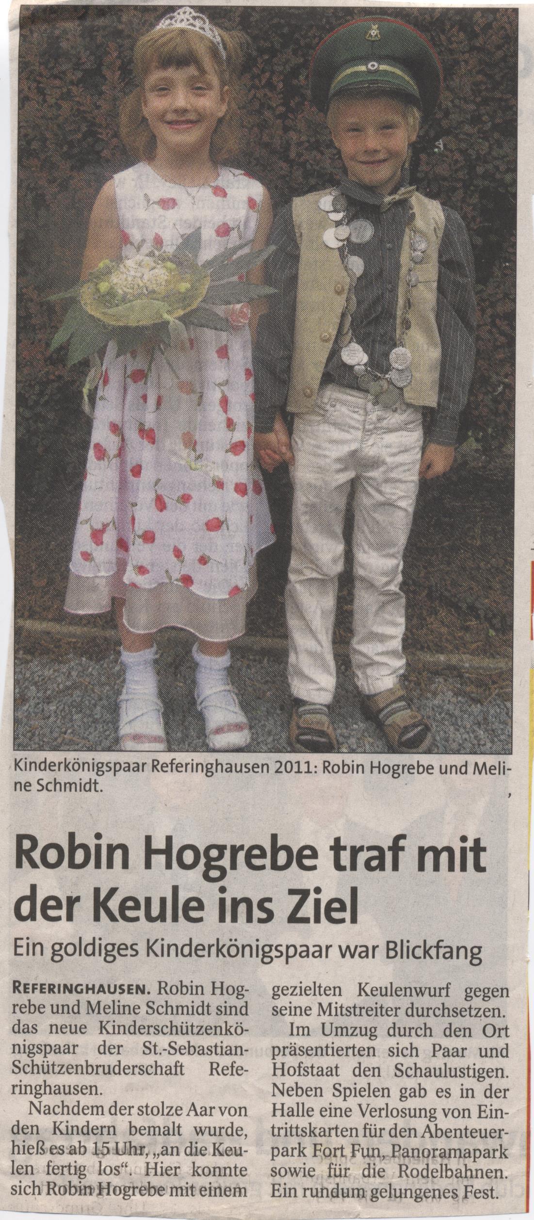 Kinderschützenkönigspaar Robin und Melina