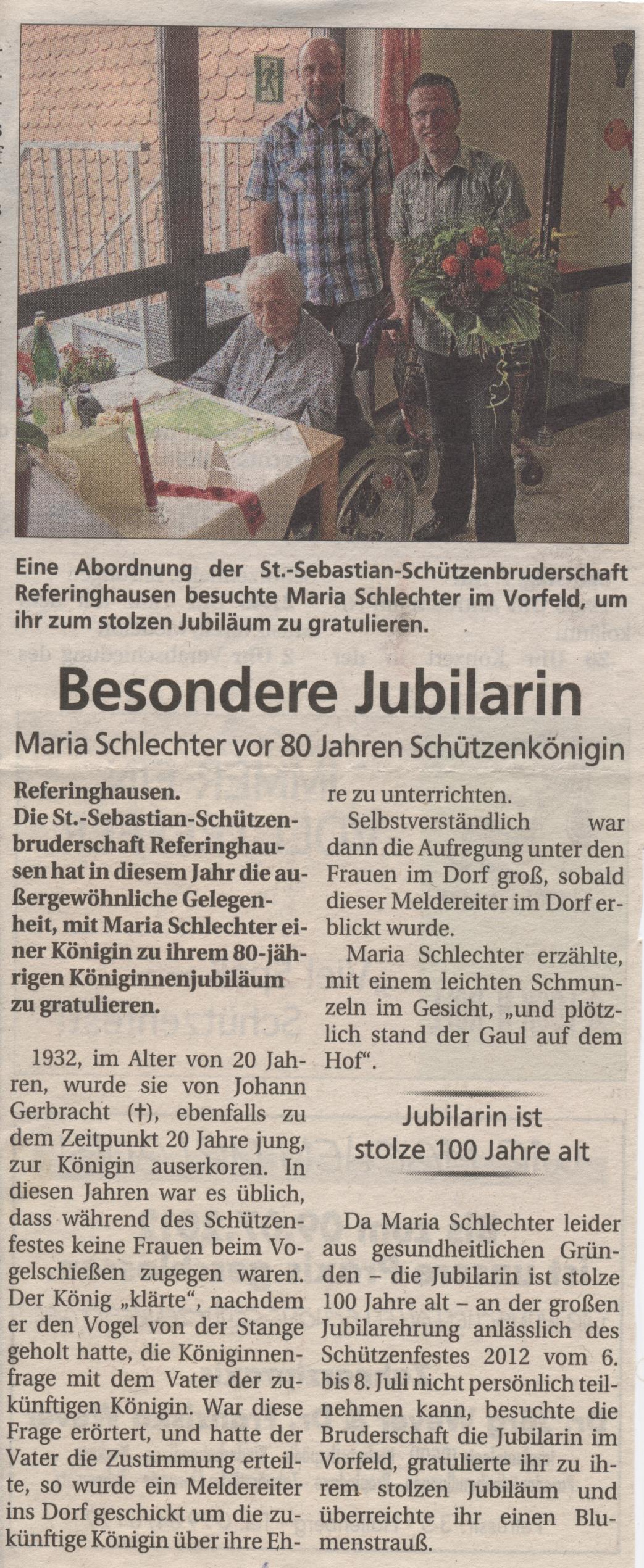 Maria  Schlechter- Besondere Jubilarin