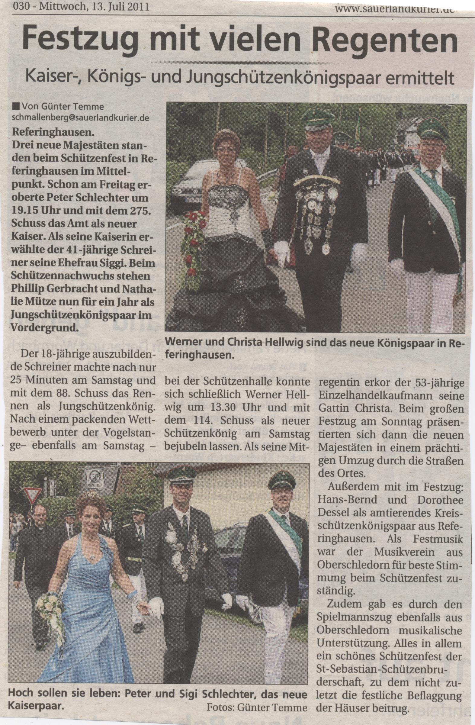 Neues Kaiser-, Königs- und Jungschützenkönigspaar ermittelt