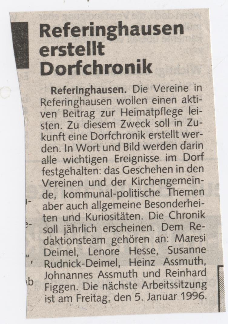 Referinghausen erstellt Dorfchronik