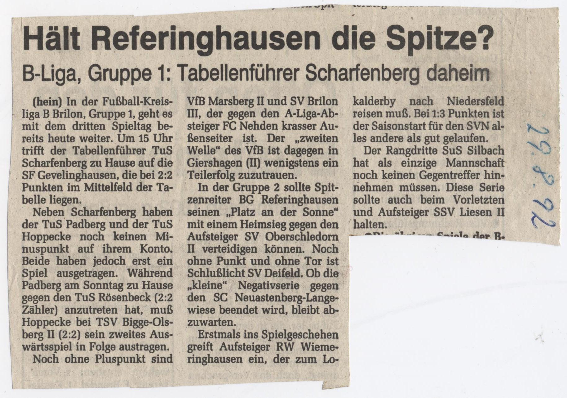 Referinghausen Fußball- Mannschaft