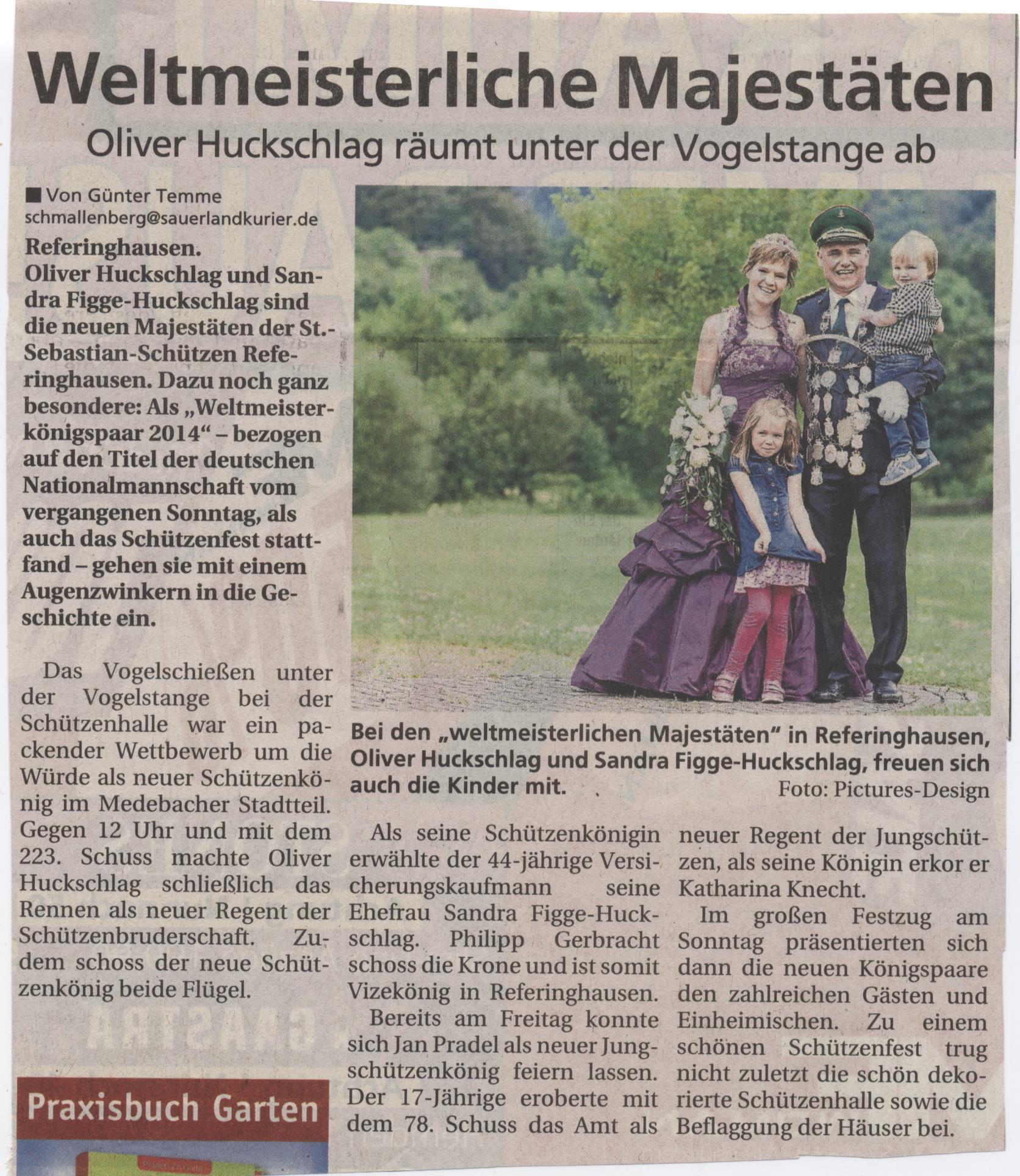 Schützenkönigspaar Oliver und Sandra Huckschlag