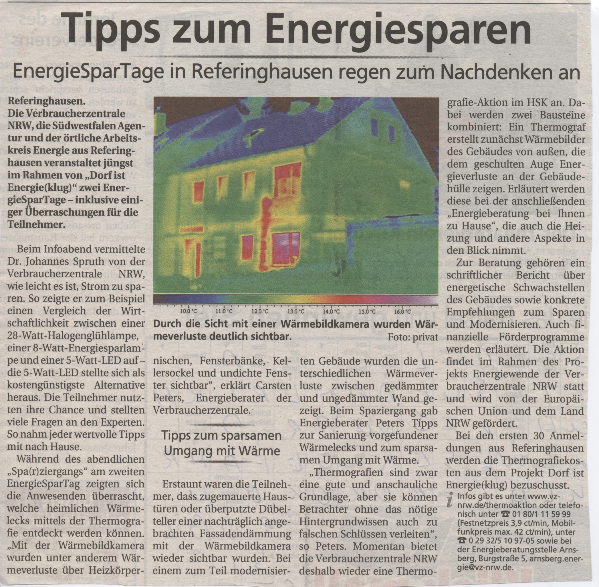 Tipps zum Energiesparen