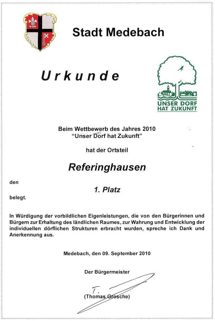 Urkunde 1. Platz Unser Dorf hat Zukunft 2010