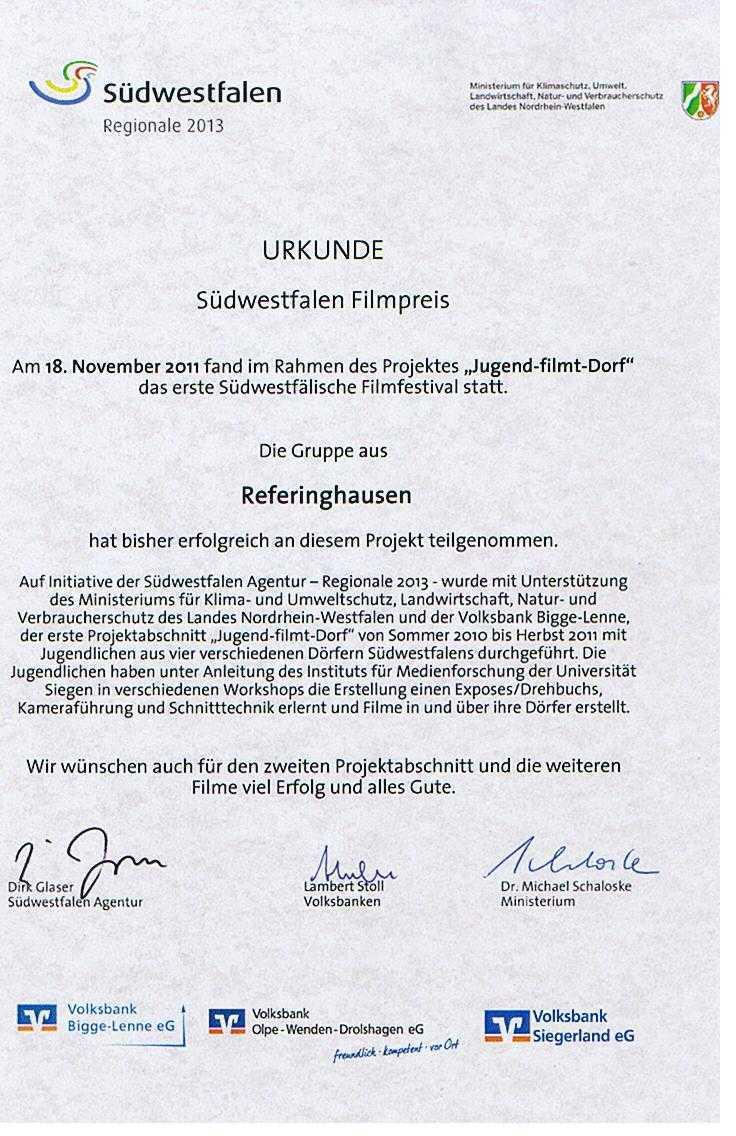 Urkunde Südwestfalen Filmpreis