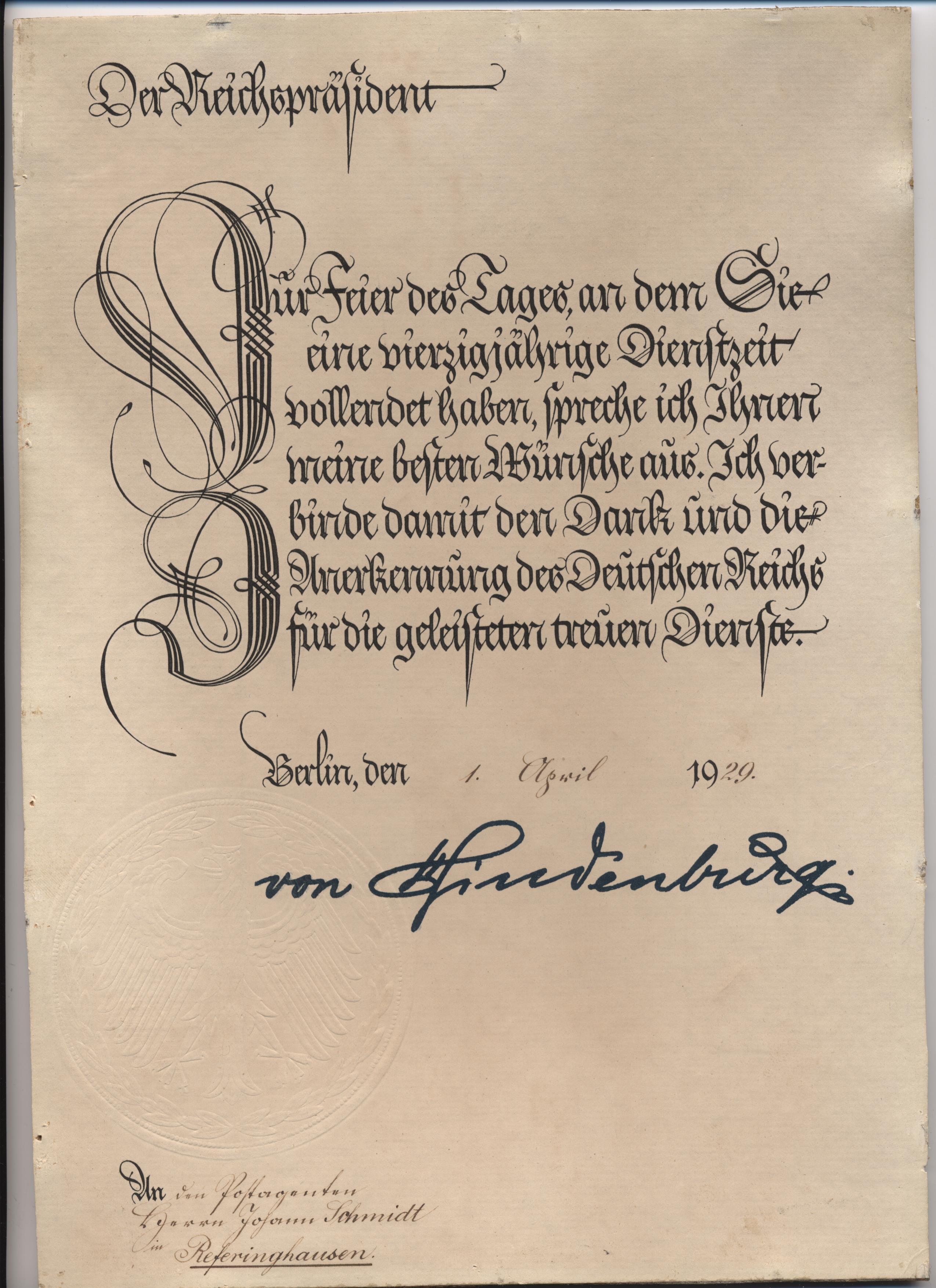 Urkunde von Hindenburg
